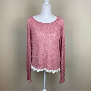 Red Tie Lace Trim Knit Long Sleeve Shirt